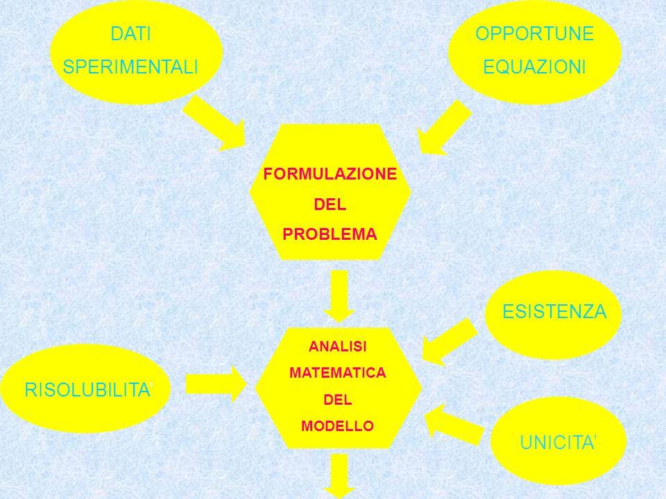DATI SPERIMENTALI OPPORTUNE EQUAZIONI FORMULAZIONE DEL PROBLEMA ANALISI MATEMATICA DEL MODELLO UNICITA ESISTENZA RISOLUBILITA