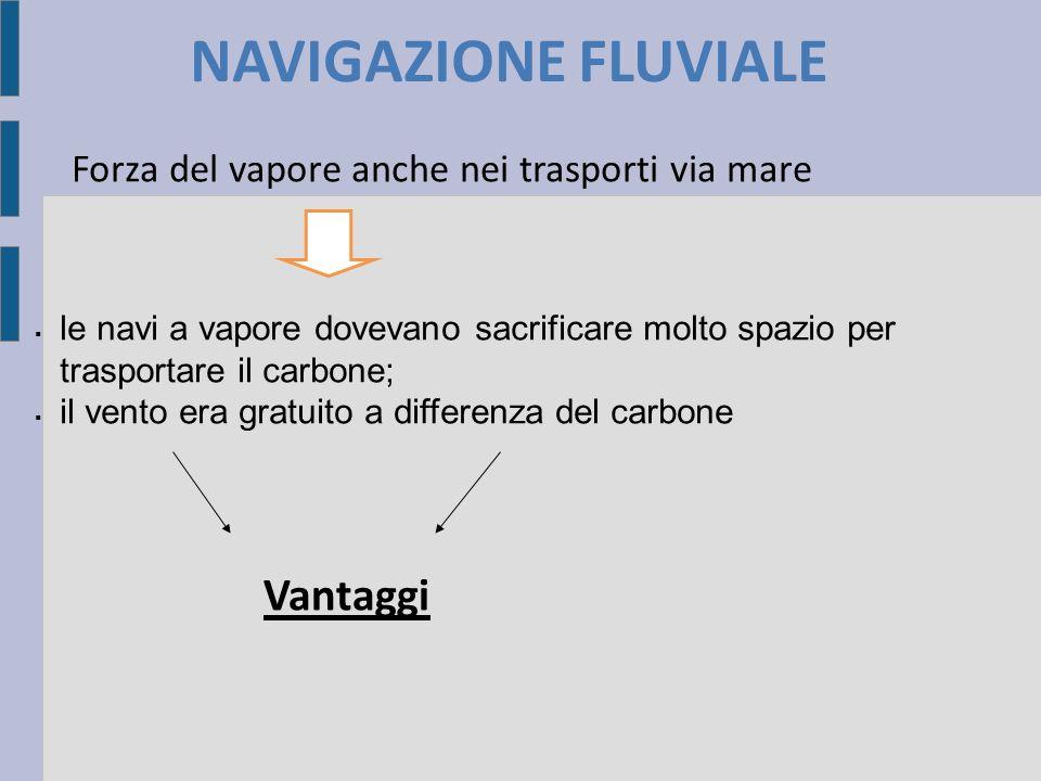 NAVIGAZIONE FLUVIALE Forza del vapore anche nei trasporti via mare le navi a vapore dovevano sacrificare molto spazio per trasportare il carbone; il vento era gratuito a differenza del carbone Vantaggi