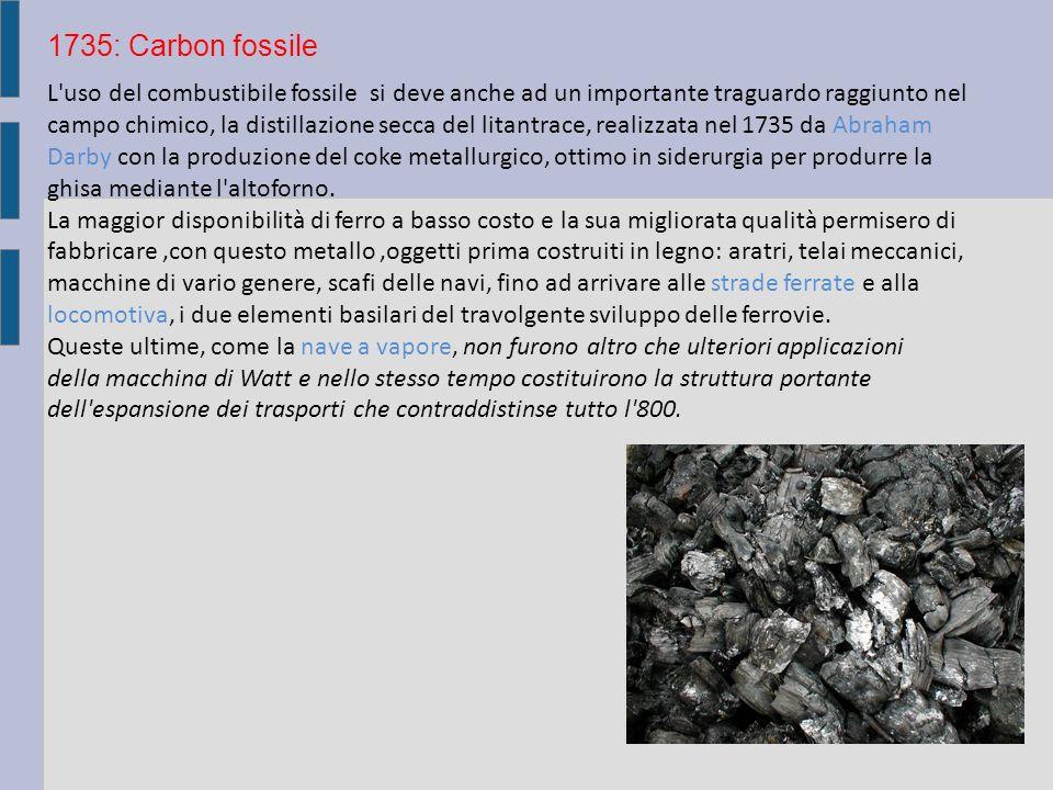 L uso del combustibile fossile si deve anche ad un importante traguardo raggiunto nel campo chimico, la distillazione secca del litantrace, realizzata nel 1735 da Abraham Darby con la produzione del coke metallurgico, ottimo in siderurgia per produrre la ghisa mediante l altoforno.