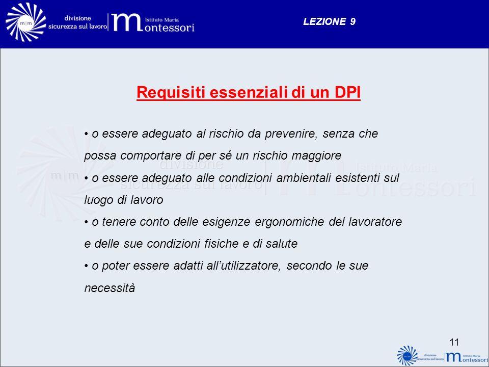 LEZIONE 9 Requisiti essenziali di un DPI o essere adeguato al rischio da prevenire, senza che possa comportare di per sé un rischio maggiore o essere