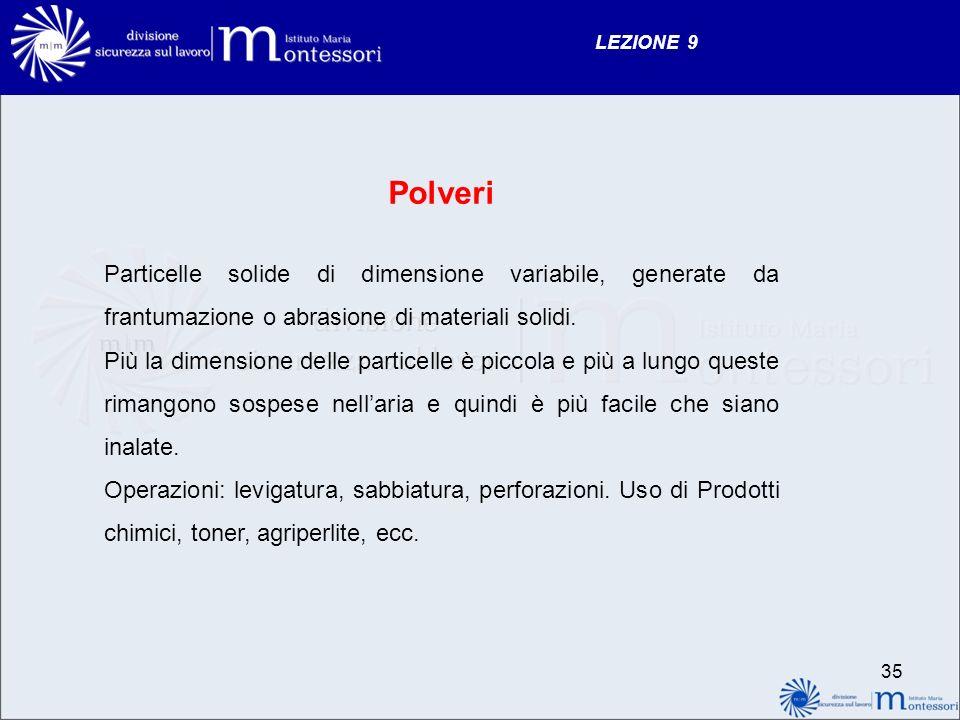 LEZIONE 9 Polveri Particelle solide di dimensione variabile, generate da frantumazione o abrasione di materiali solidi.