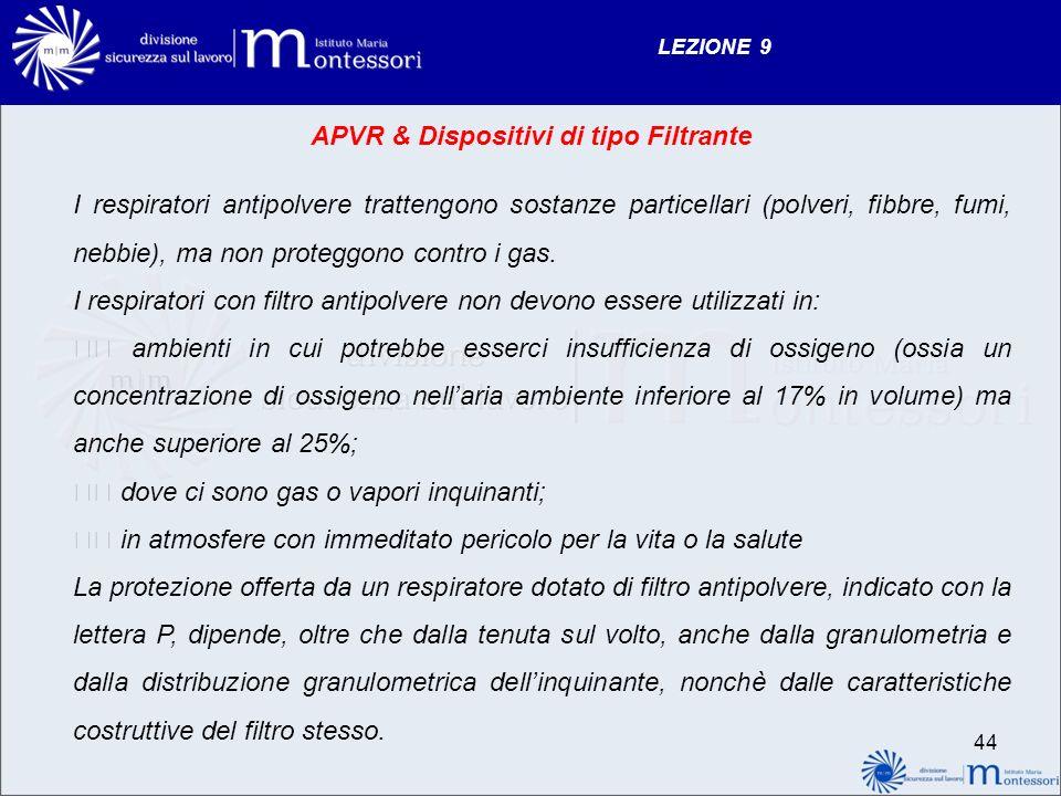 LEZIONE 9 APVR & Dispositivi di tipo Filtrante I respiratori antipolvere trattengono sostanze particellari (polveri, fibbre, fumi, nebbie), ma non proteggono contro i gas.
