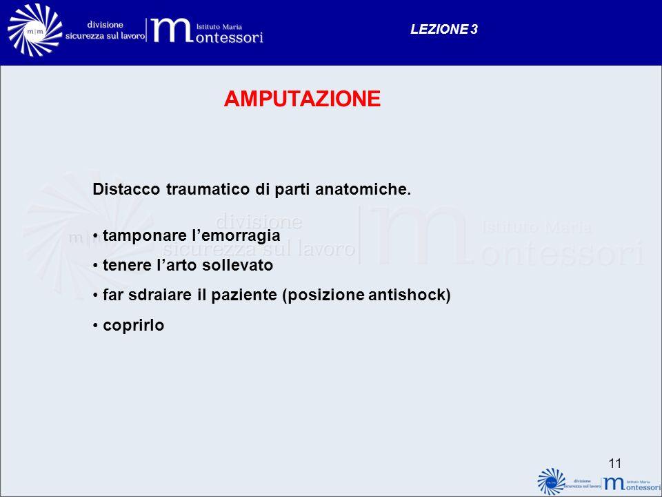 11 LEZIONE 3 AMPUTAZIONE Distacco traumatico di parti anatomiche. tamponare lemorragia tenere larto sollevato far sdraiare il paziente (posizione anti