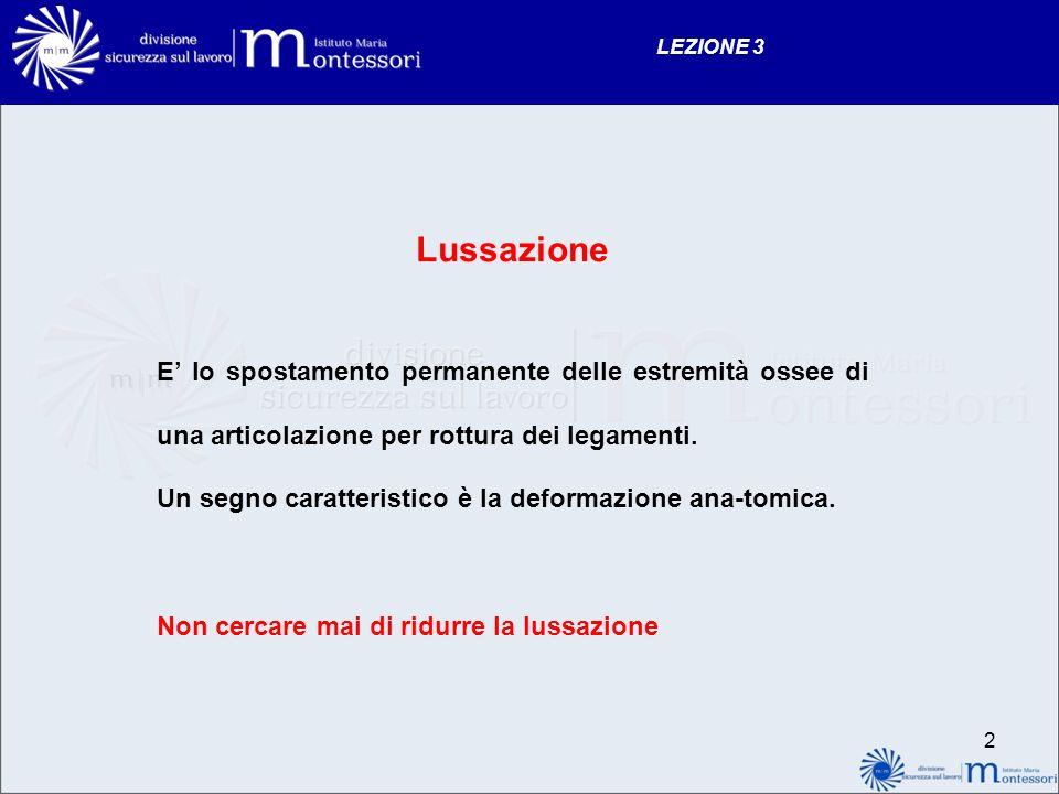 2 LEZIONE 3 Lussazione E lo spostamento permanente delle estremità ossee di una articolazione per rottura dei legamenti. Un segno caratteristico è la