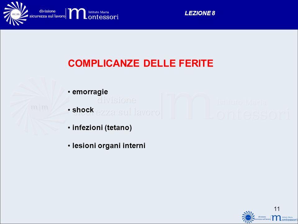 11 LEZIONE 8 COMPLICANZE DELLE FERITE emorragie shock infezioni (tetano) lesioni organi interni