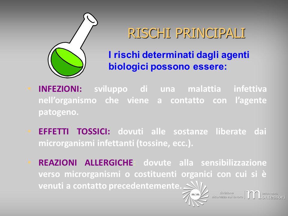 RISCHI PRINCIPALI INFEZIONI: sviluppo di una malattia infettiva nellorganismo che viene a contatto con lagente patogeno. EFFETTI TOSSICI: dovuti alle