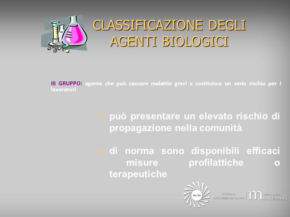 CLASSIFICAZIONE DEGLI AGENTI BIOLOGICI III GRUPPO: agente che può causare malattie gravi e costituisce un serio rischio per i lavoratori può presentar