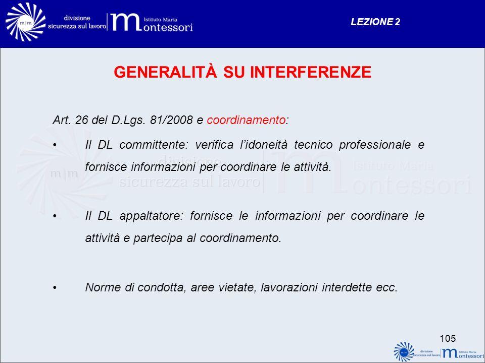GENERALITÀ SU INTERFERENZE Art.26 del D.Lgs.