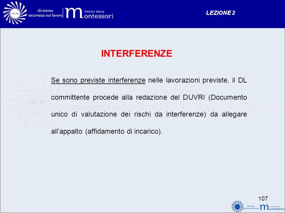 INTERFERENZE Se sono previste interferenze nelle lavorazioni previste, il DL committente procede alla redazione del DUVRI (Documento unico di valutazione dei rischi da interferenze) da allegare allappalto (affidamento di incarico).