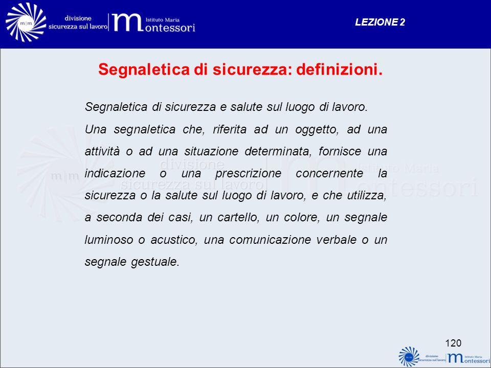 LEZIONE 2 120 Segnaletica di sicurezza: definizioni.