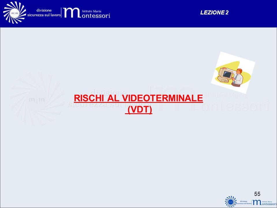RISCHI AL VIDEOTERMINALE (VDT) LEZIONE 2 55