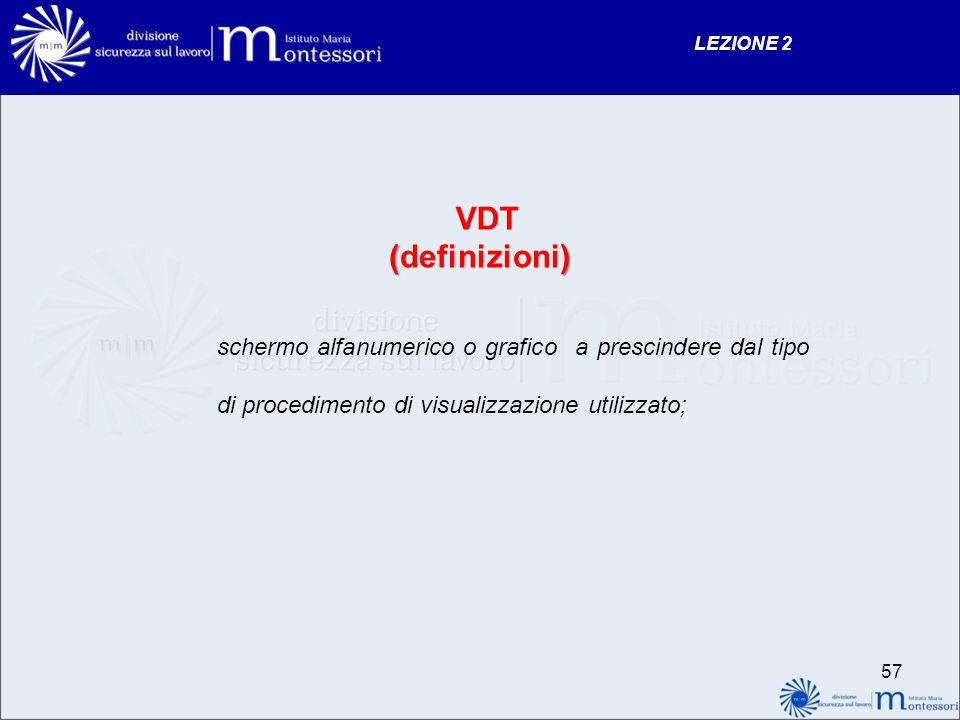VDT () (definizioni) schermo alfanumerico o grafico a prescindere dal tipo di procedimento di visualizzazione utilizzato; LEZIONE 2 57
