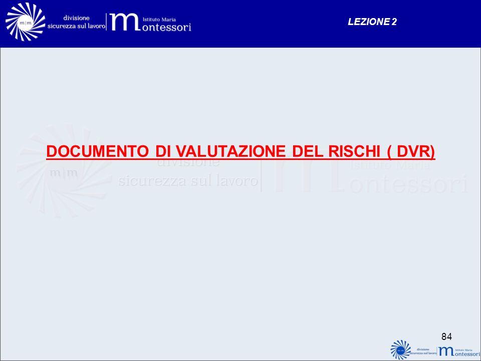 DOCUMENTO DI VALUTAZIONE DEL RISCHI ( DVR) LEZIONE 2 84