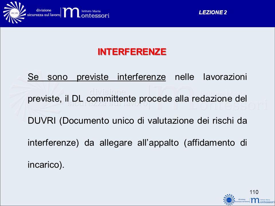 INTERFERENZE Se sono previste interferenze nelle lavorazioni previste, il DL committente procede alla redazione del DUVRI (Documento unico di valutazi