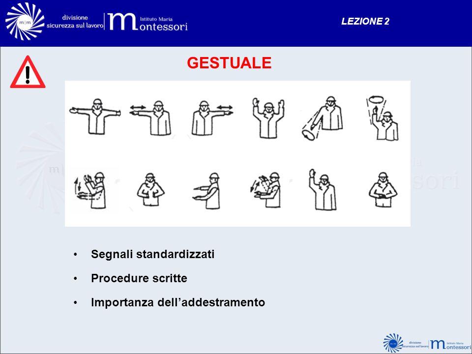 GESTUALE Segnali standardizzati Procedure scritte Importanza delladdestramento