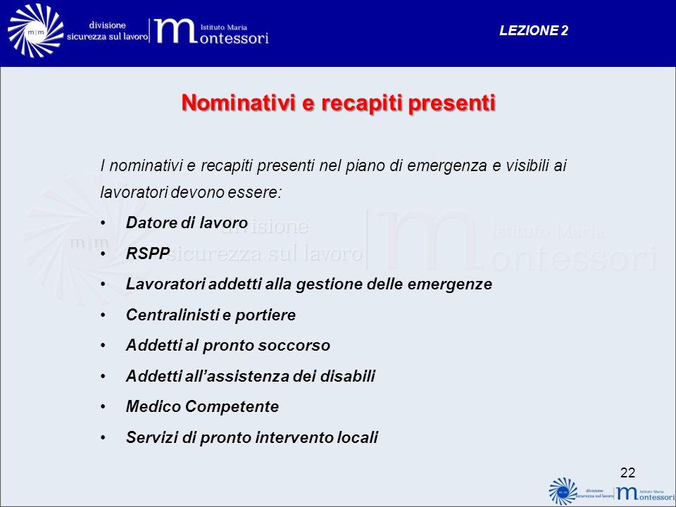 Nominativi e recapiti presenti I nominativi e recapiti presenti nel piano di emergenza e visibili ai lavoratori devono essere: Datore di lavoro RSPP L