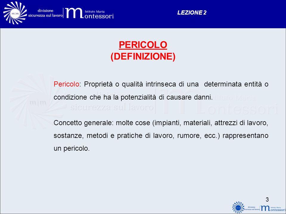 LEZIONE 2 PERICOLO (DEFINIZIONE) Pericolo: Proprietà o qualità intrinseca di una determinata entità o condizione che ha la potenzialità di causare dan