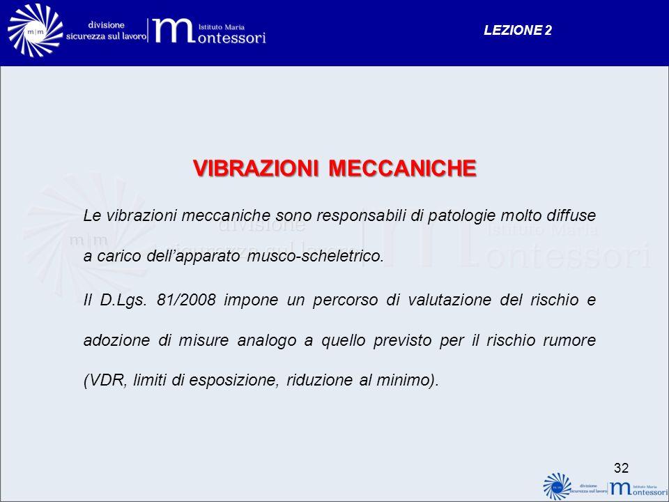 LEZIONE 2 VIBRAZIONI MECCANICHE Le vibrazioni meccaniche sono responsabili di patologie molto diffuse a carico dellapparato musco-scheletrico. Il D.Lg