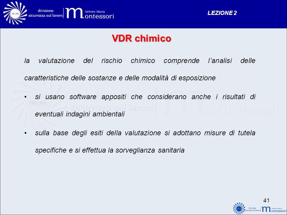 VDR chimico la valutazione del rischio chimico comprende lanalisi delle caratteristiche delle sostanze e delle modalità di esposizione si usano softwa