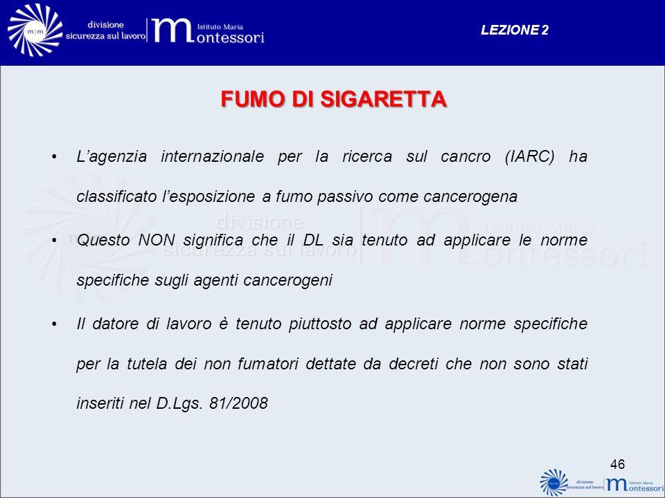 FUMO DI SIGARETTA Lagenzia internazionale per la ricerca sul cancro (IARC) ha classificato lesposizione a fumo passivo come cancerogena Questo NON sig