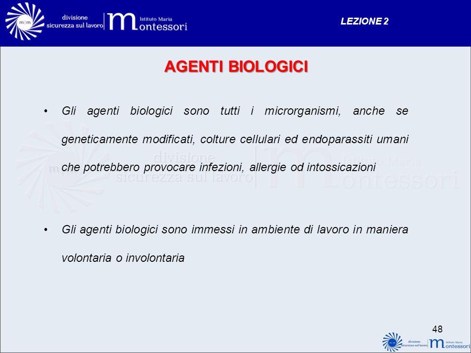 AGENTI BIOLOGICI Gli agenti biologici sono tutti i microrganismi, anche se geneticamente modificati, colture cellulari ed endoparassiti umani che potr