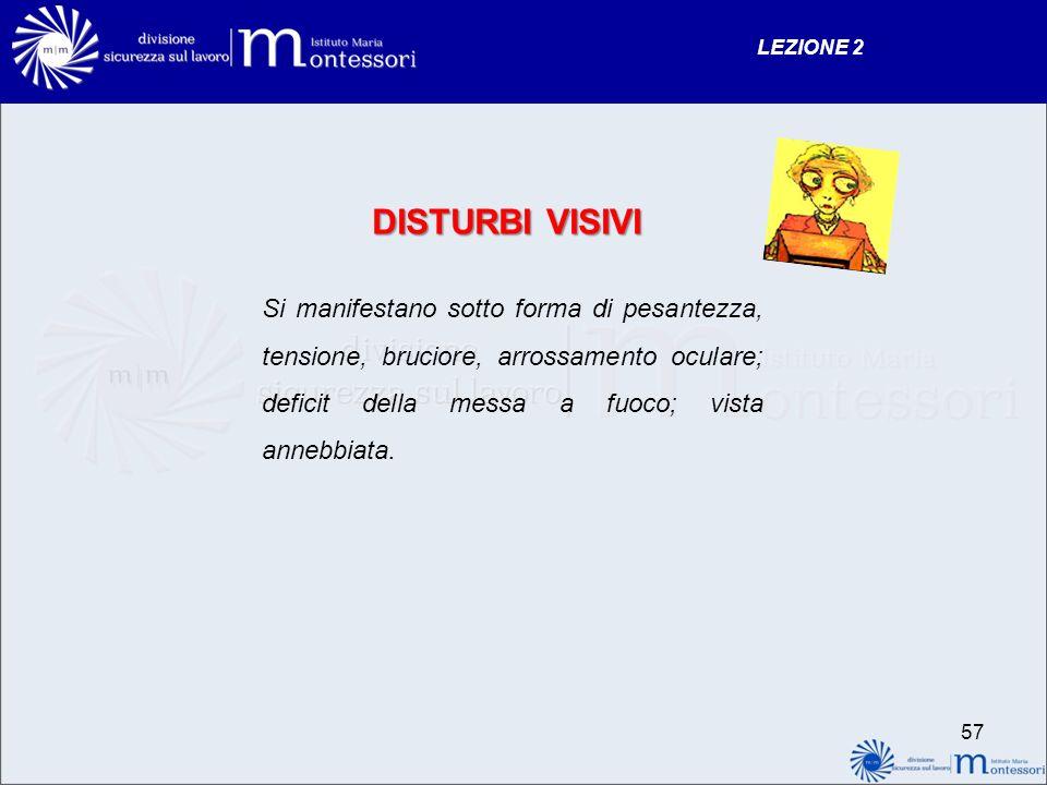 DISTURBI VISIVI Si manifestano sotto forma di pesantezza, tensione, bruciore, arrossamento oculare; deficit della messa a fuoco; vista annebbiata. LEZ