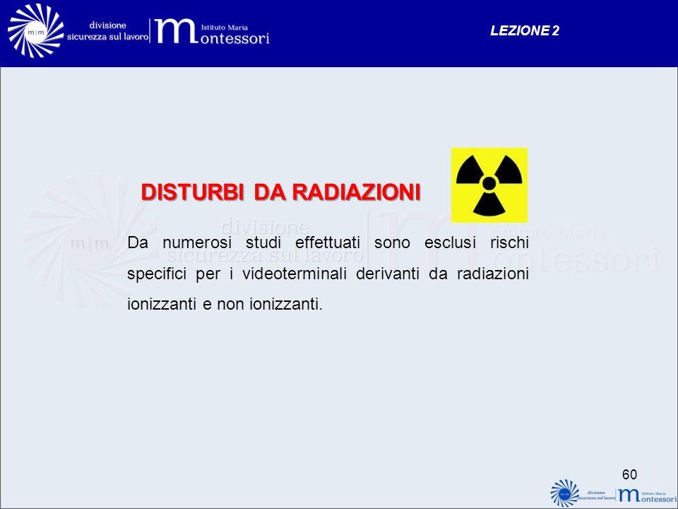 DISTURBI DA RADIAZIONI Da numerosi studi effettuati sono esclusi rischi specifici per i videoterminali derivanti da radiazioni ionizzanti e non ionizz