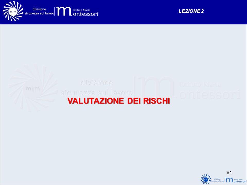 VALUTAZIONE DEI RISCHI LEZIONE 2 61