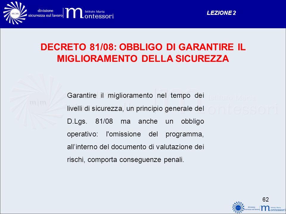 DECRETO 81/08: OBBLIGO DI GARANTIRE IL MIGLIORAMENTO DELLA SICUREZZA Garantire il miglioramento nel tempo dei livelli di sicurezza, un principio gener