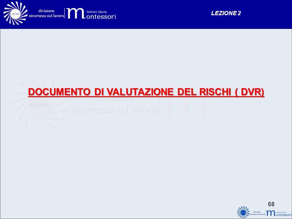 DOCUMENTO DI VALUTAZIONE DEL RISCHI ( DVR) LEZIONE 2 68