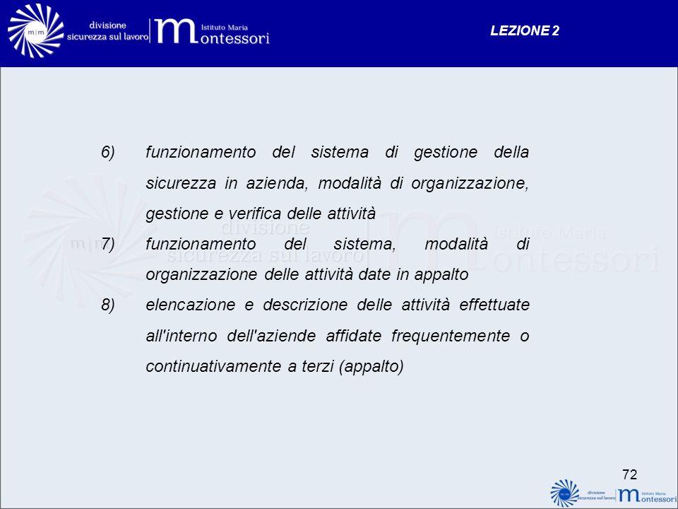 6)funzionamento del sistema di gestione della sicurezza in azienda, modalità di organizzazione, gestione e verifica delle attività 7)funzionamento del