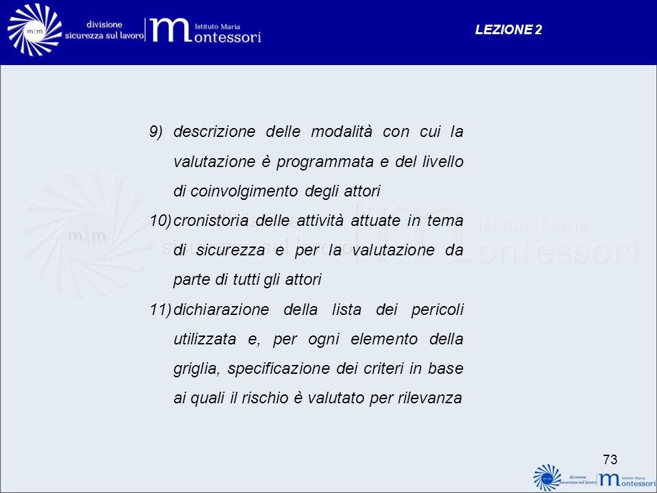 9)descrizione delle modalità con cui la valutazione è programmata e del livello di coinvolgimento degli attori 10)cronistoria delle attività attuate i