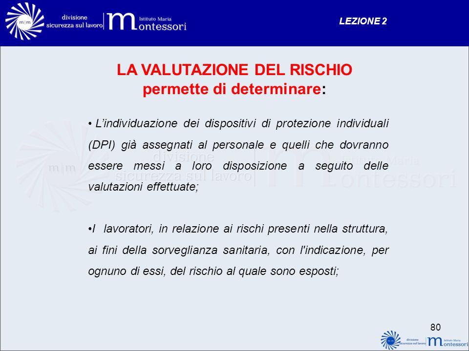 LA VALUTAZIONE DEL RISCHIO permette di determinare: Lindividuazione dei dispositivi di protezione individuali (DPI) già assegnati al personale e quell