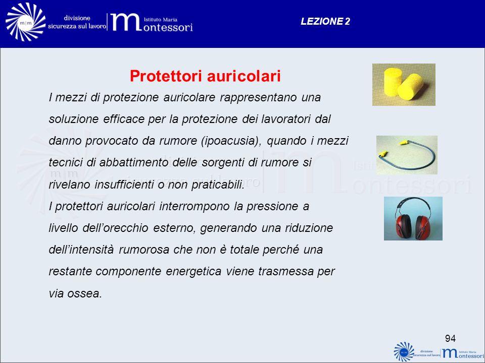 LEZIONE 2 Protettori auricolari I mezzi di protezione auricolare rappresentano una soluzione efficace per la protezione dei lavoratori dal danno provo