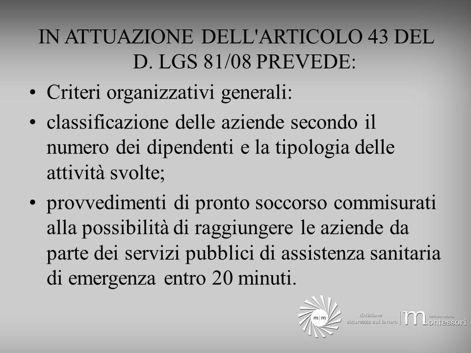 IN ATTUAZIONE DELL ARTICOLO 43 DEL D.
