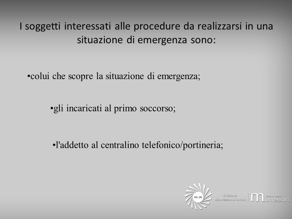 I soggetti interessati alle procedure da realizzarsi in una situazione di emergenza sono: colui che scopre la situazione di emergenza; gli incaricati al primo soccorso; l addetto al centralino telefonico/portineria;