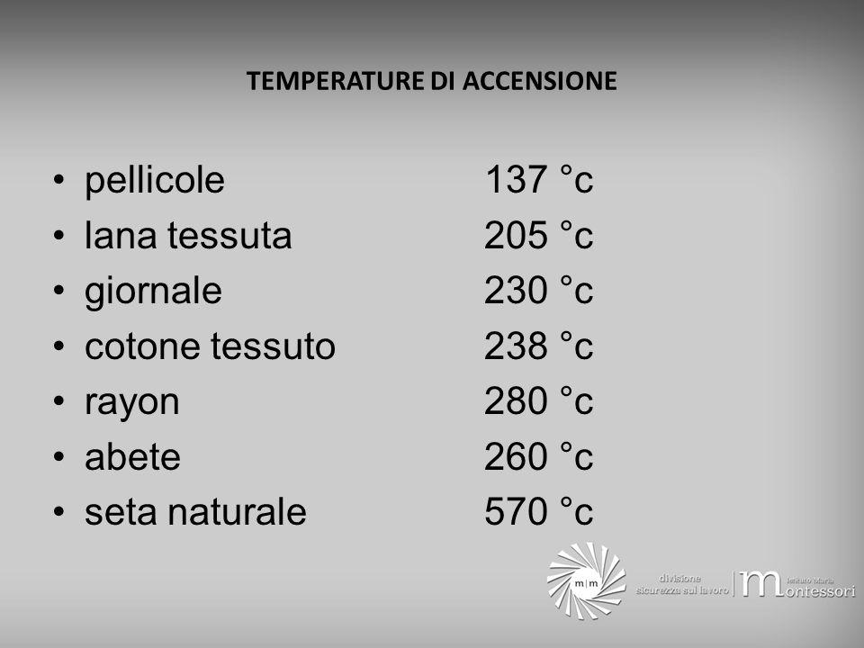 TEMPERATURE DI ACCENSIONE benzina- 20 °c acetone- 18 °c toluolo 4 °c alcool metilico 11 °c alcool etilico 13 °c gasolio 65 °c olio lubrificante 149 °c