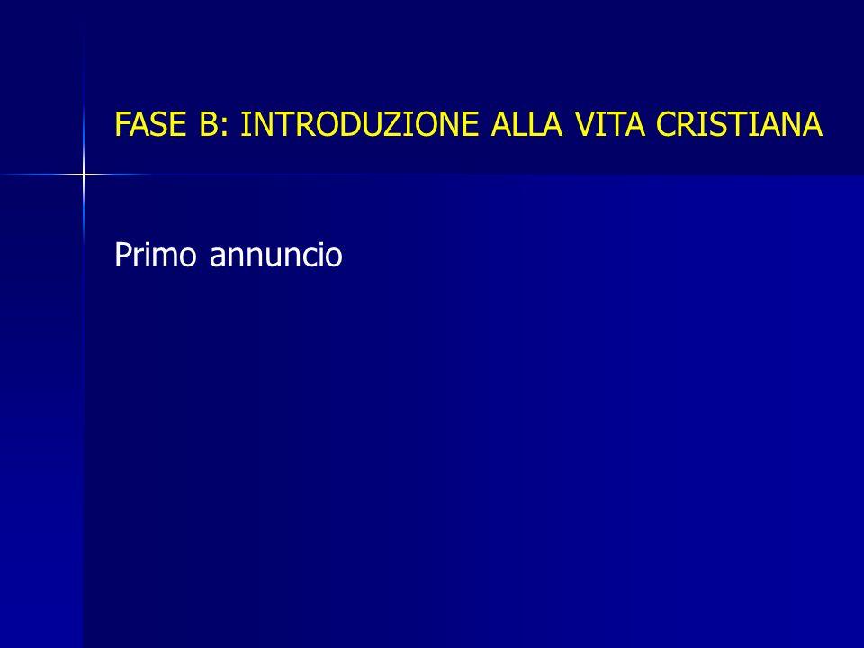 FASE B: INTRODUZIONE ALLA VITA CRISTIANA Primo annuncio