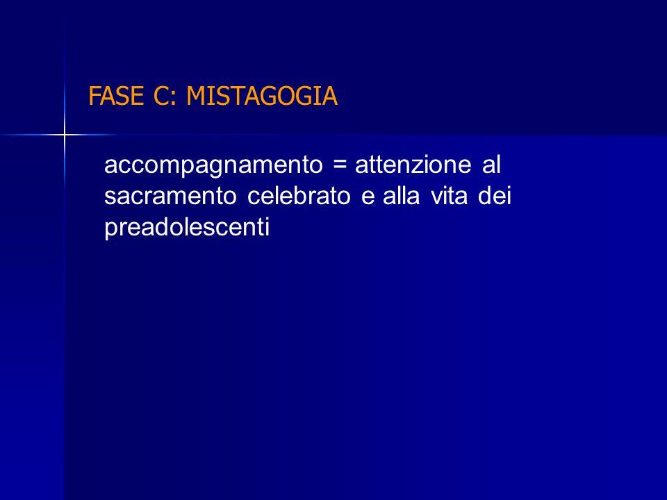 accompagnamento = attenzione al sacramento celebrato e alla vita dei preadolescenti