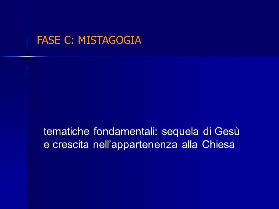 FASE C: MISTAGOGIA tematiche fondamentali: sequela di Gesù e crescita nellappartenenza alla Chiesa