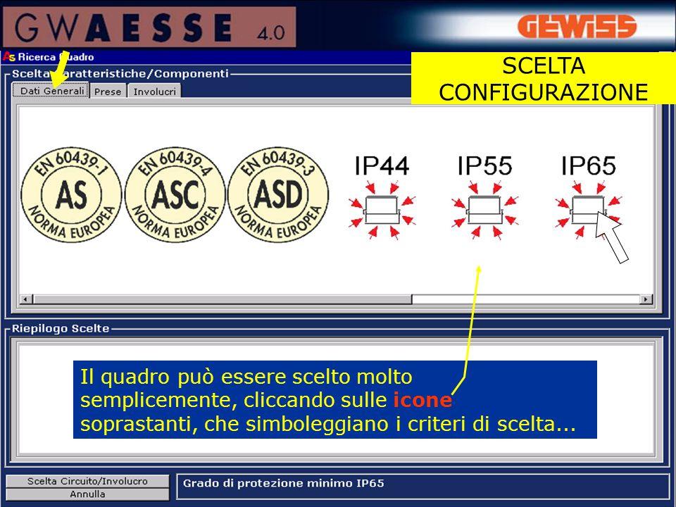 Il quadro può essere scelto molto semplicemente, cliccando sulle icone soprastanti, che simboleggiano i criteri di scelta... SCELTA CONFIGURAZIONE