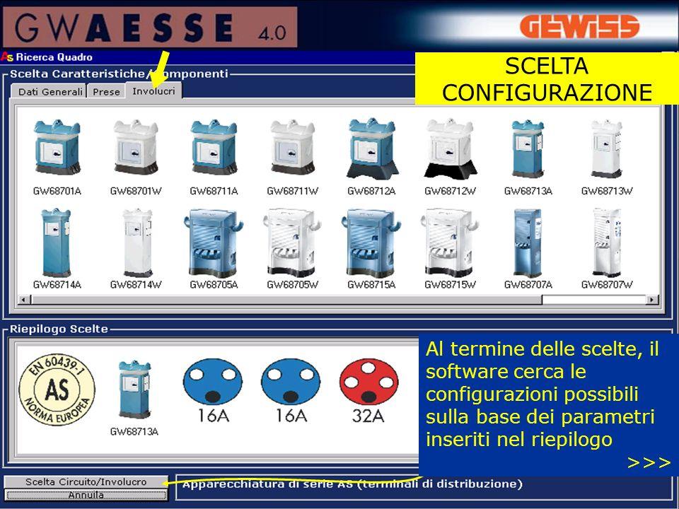 Al termine delle scelte, il software cerca le configurazioni possibili sulla base dei parametri inseriti nel riepilogo >>>