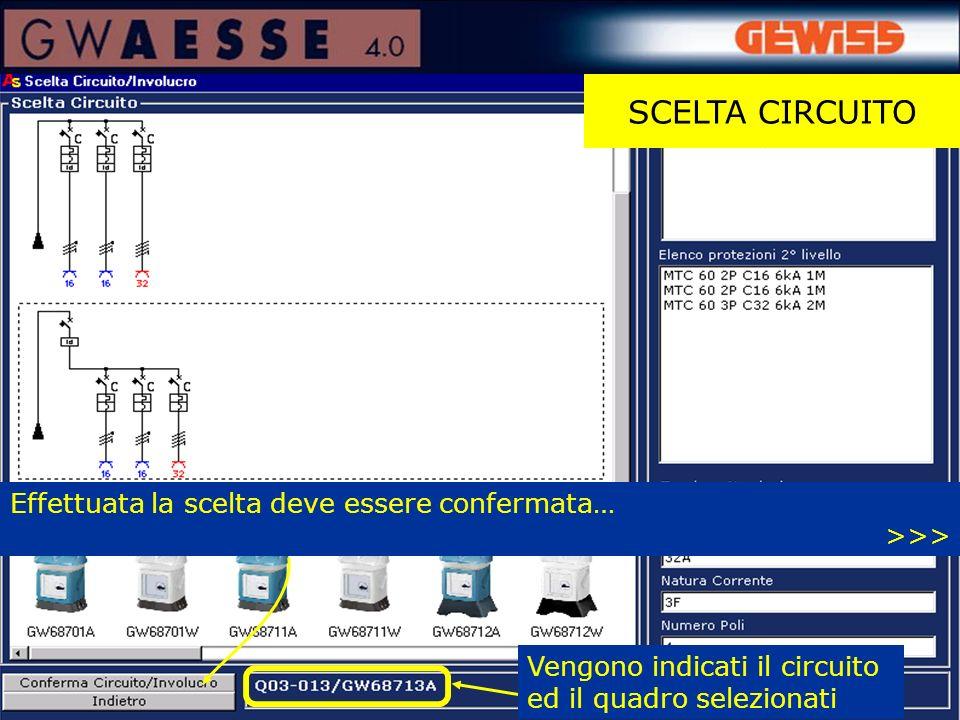 SCELTA CIRCUITO Vengono indicati il circuito ed il quadro selezionati Effettuata la scelta deve essere confermata… >>>