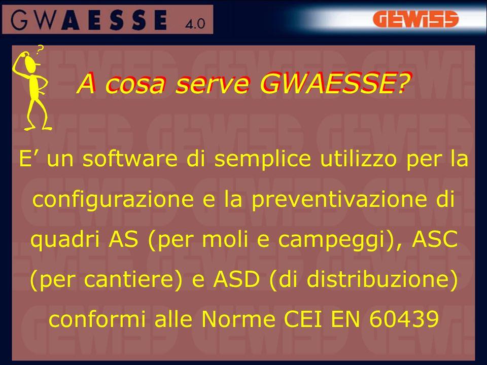 A cosa serve GWAESSE? E un software di semplice utilizzo per la configurazione e la preventivazione di quadri AS (per moli e campeggi), ASC (per canti