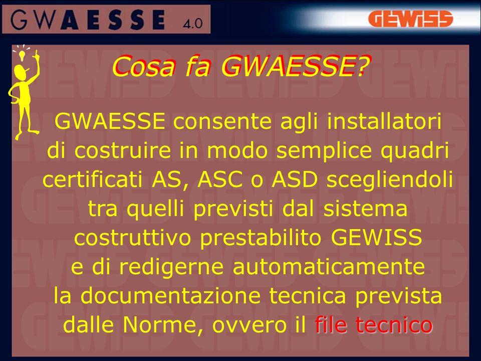 Cosa fa GWAESSE? file tecnico GWAESSE consente agli installatori di costruire in modo semplice quadri certificati AS, ASC o ASD scegliendoli tra quell