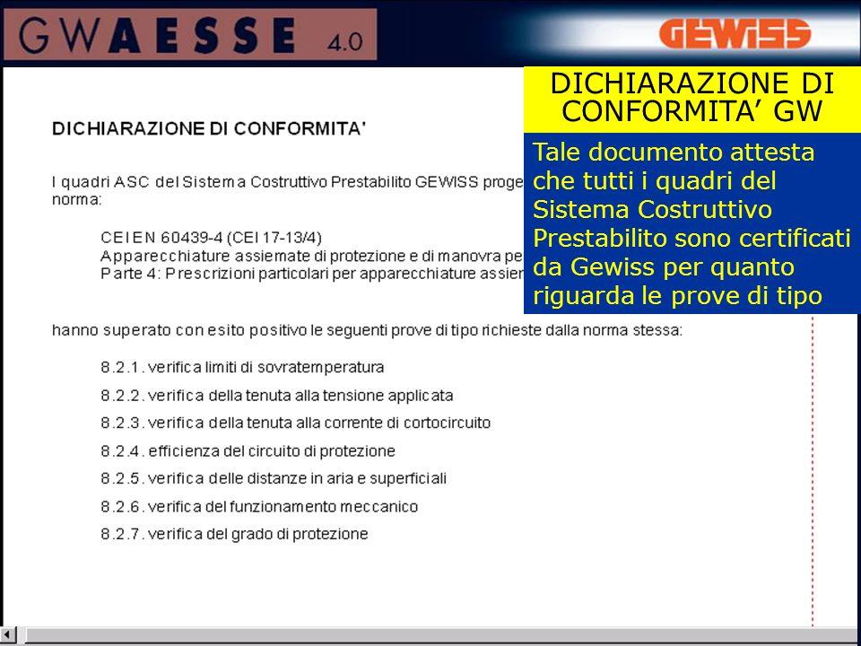 Tale documento attesta che tutti i quadri del Sistema Costruttivo Prestabilito sono certificati da Gewiss per quanto riguarda le prove di tipo DICHIARAZIONE DI CONFORMITA GW