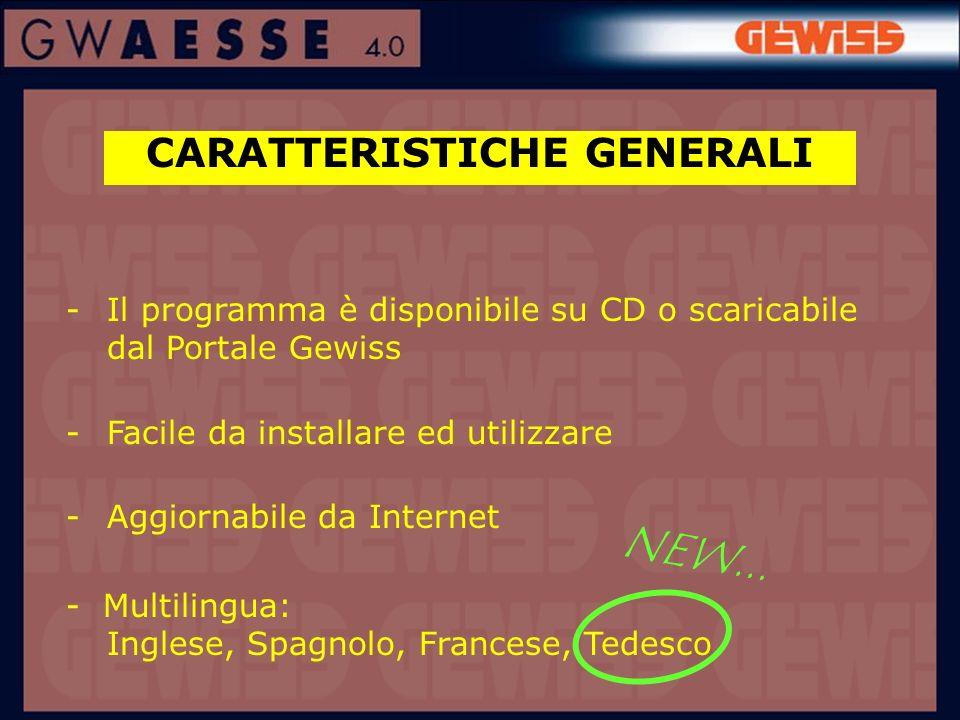 CARATTERISTICHE GENERALI -Il programma è disponibile su CD o scaricabile dal Portale Gewiss -Facile da installare ed utilizzare -Aggiornabile da Inter