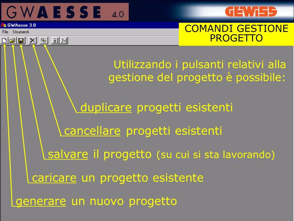 duplicare progetti esistenti cancellare progetti esistenti salvare il progetto (su cui si sta lavorando) caricare un progetto esistente generare un nu