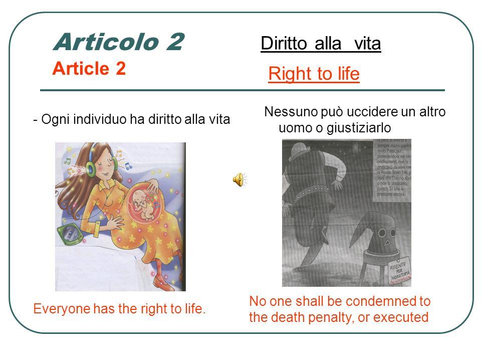 Articolo 1 Article 1 Dignità umana Human dignity OGNI PERSONA DELLA TERRA HA LA SUA DIGNITA CHE VA RISPETTATA Human dignity is inviolable. It must be