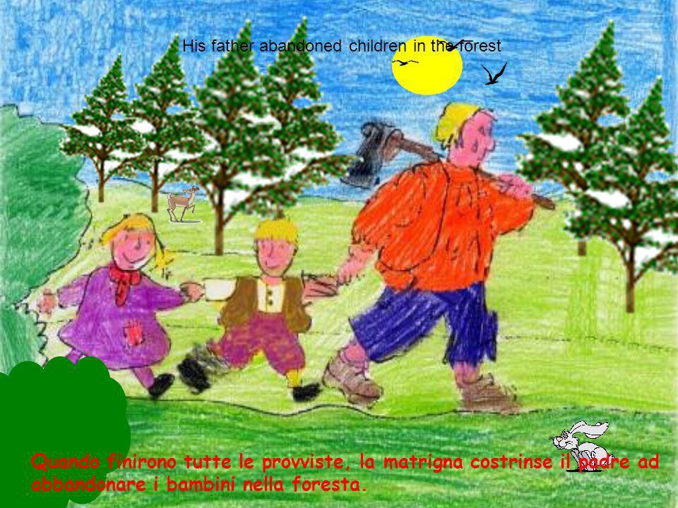 Davanti a un bosco abitava un povero taglialegna con la seconda moglie e i suoi due bambini Hansel e Gretel. Hansel and Gretel, the father and stepmot